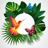Tropical leaves with birds, butterflies. Floral design backgroun — Stock Vector