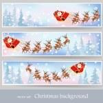 Santa Claus rides reindeer sleigh — Stock Vector #56526979