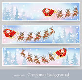 Santa Claus rides reindeer sleigh — Stock Vector