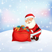 Santa Claus packing a bag of gifts — Vecteur