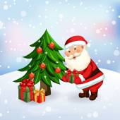 Santa Claus giving a presents — Stockvector