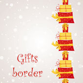 Gift boxes seamless border — Stock Vector