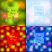 Bokeh lights Christmas backgrounds set — Stock Vector