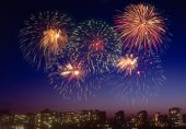 Firework over a city. — Stock Photo