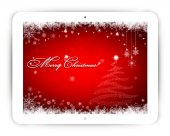 Tablet with Christmas background — Stock Vector