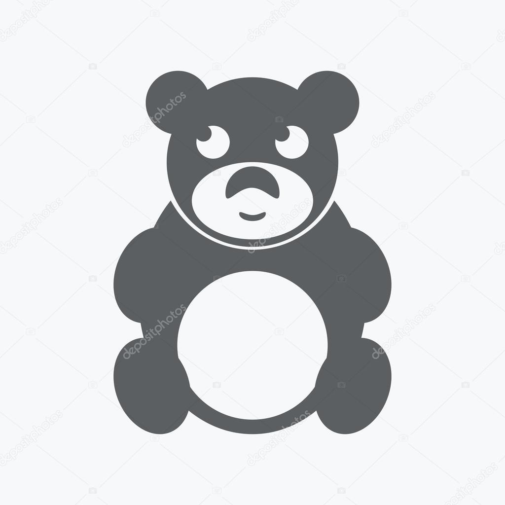 白色背景上的黑色可爱的玩具熊图标.矢量图– 图库插图