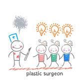 Plastic surgeon holding a scalpel — Stock vektor