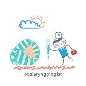 Otolaryngologist offers nasal drops — Stock Vector