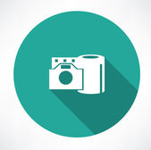 Film reel and the camera icon — Vector de stock