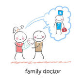 Family thinks about the family doctor — Stock Vector