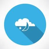 Night snowfall icon — Stock Vector