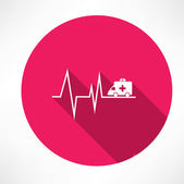 Ambulance on pulse icon — Stock Vector