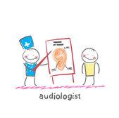 Otolaryngologist shows a presentation — Stock Vector