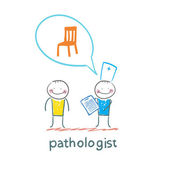 Pathologist with the patient — Stock Vector