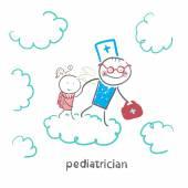 Pediatrician with baby runs — Stock Vector