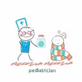 Pediatrician giving medicine to a child — Stock Vector