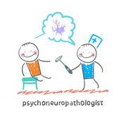 Psychoneuropathologist   check the patient — Stock Vector