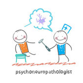 Psychoneuropathologist   check the patient's nerves — Stock Vector