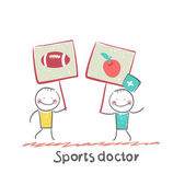 Sports doctor holds a banner — Wektor stockowy