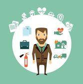 Insurance agent illustration — Stock Vector