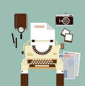 Journalist publishes news — Stock Vector