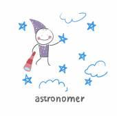 Astronomer flies in the stars — Stock Vector