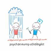 Psychoneuropathologist   and patient — Stock Vector