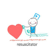 Resuscitator hurry to the heart — Stock Vector