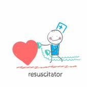 Resuscitator hurry to the heart — Stock Vector