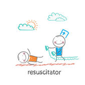 Resuscitation in a hurry to  patient — Stock Vector