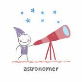 Astronomer looking through a telescope — ストックベクタ