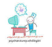 Psychoneuropathologist   at the computer — Stock Vector