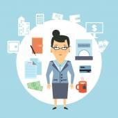 Bank employee  illustration — Stock Vector
