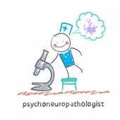 Psychoneuropathologist and microscope — Stock Vector