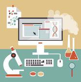 Desktop scientist chemist — Stock Vector