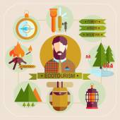Ecotourism man — Stock Vector