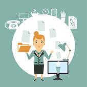 Secretary working with documents — Stockvektor