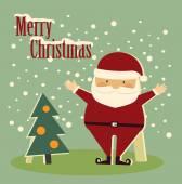Santa Claus and tree — Stock Vector