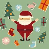 Santa Claus and Christmas trees — Stock Vector
