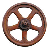 Industrial Valve Wheel And Rusty Stem, Old Aged Weathered Rust Grunge Latch Macro Closeup Isolated — Stock Photo