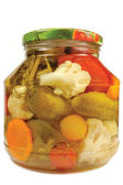 Pickled canned vegetables homemade assortment, isolated glass jar, large detailed macro closeup studio shot, tomatoes, cucumbers, carrots, cauliflowers, dill, garlic peppers — Zdjęcie stockowe
