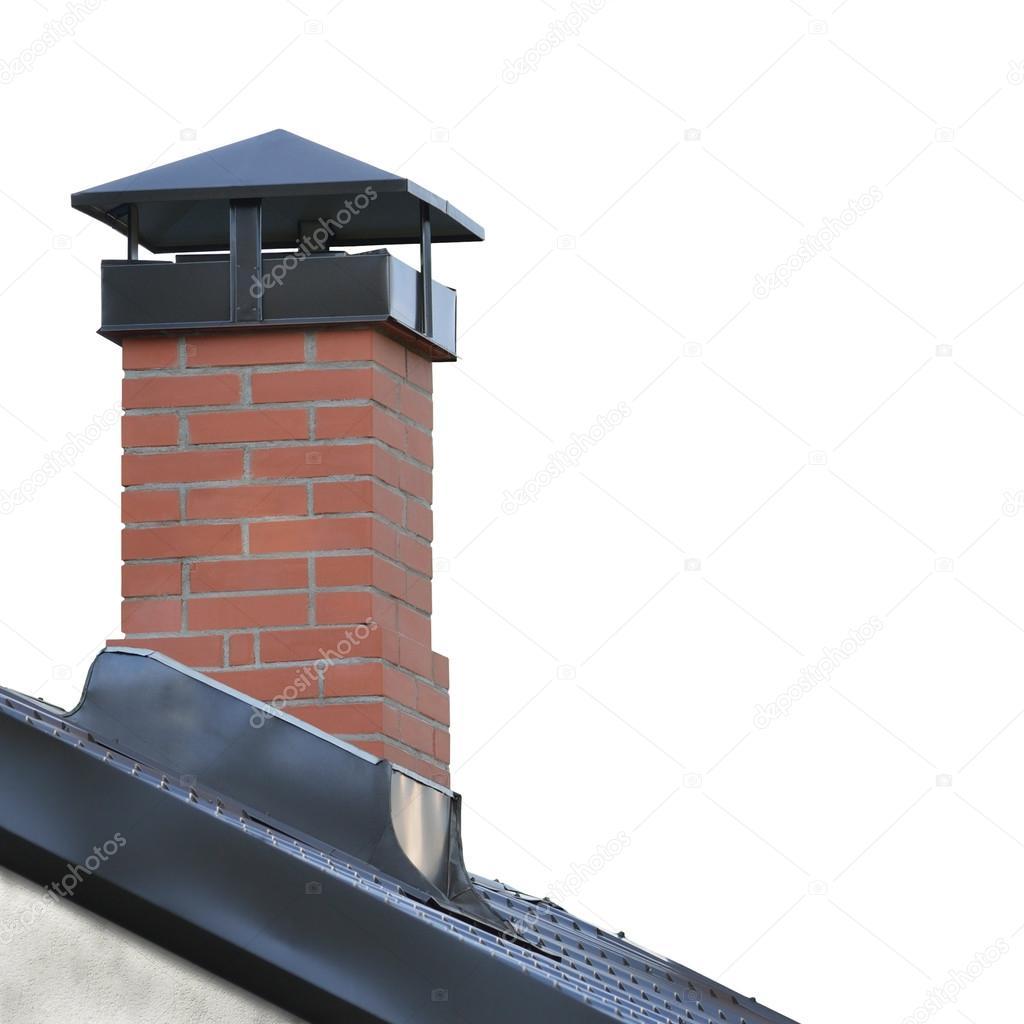 Mattoni rossi camino, struttura del tetto di mattonelle dacciaio ...
