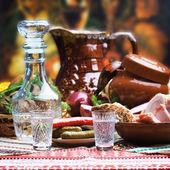 Russian vodka in small glasses — Stock Photo