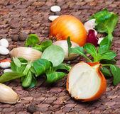 Garlic, onion and salade — Stock Photo