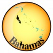 Orange button with the image maps of Bahamas — Stock Vector #64999433