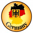 Orange button with the image maps of button Germany — Stock Vector #65000481
