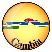 Orange button with the image maps of button Gambia — 图库矢量图片