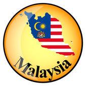 Orange button with the image maps of Malaysia — Stok Vektör