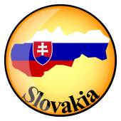 Orange button with the image maps of Slovakia — Stock Vector