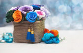 Beautiful bouquet of artificial flowers — Stock Photo